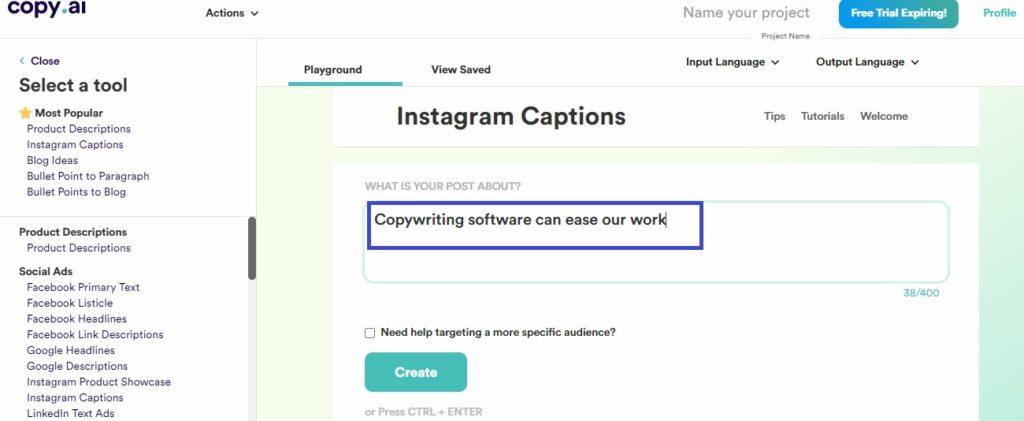 Copy ai Instagram write caption