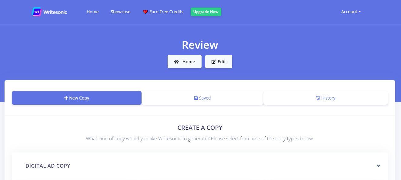 Writesonic copywriting software: Select the Copy Type
