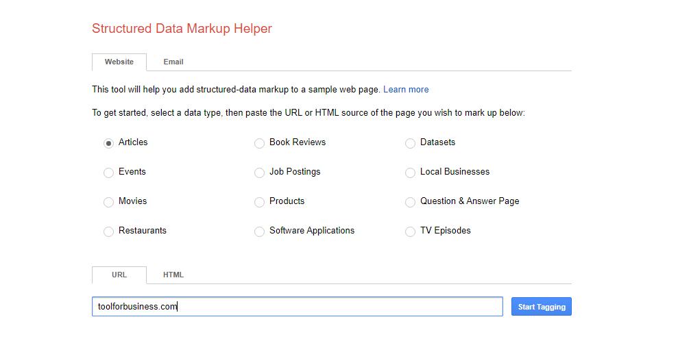 Schema Markup Setting: Paste the URL
