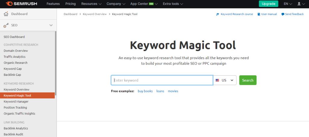 Semrush keywords magic tool
