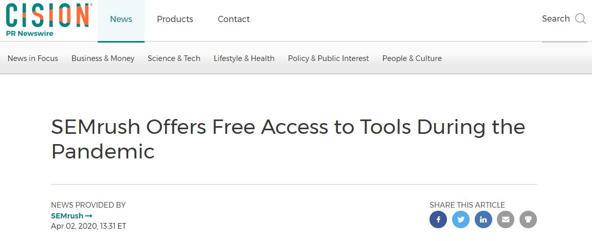 semrus oppty tool free during pandemic